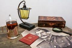 Vecchie cose d'annata del periodo sovietico Fotografia Stock