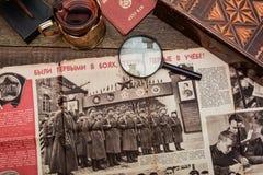 Vecchie cose d'annata del periodo sovietico Fotografia Stock Libera da Diritti