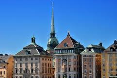 Vecchie costruzioni della città di Stoccolma Fotografia Stock Libera da Diritti