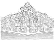 Vecchie costruzioni dettagliate sull'angolo di strada Fotografie Stock