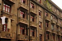 Vecchie costruzioni di appartamento a Shanghai Cina Fotografie Stock Libere da Diritti