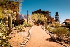 Vecchie costruzioni di legno occidentali nella città fantasma della miniera d'oro di zona aurifera in Youngsberg, Arizona, U.S.A. immagini stock libere da diritti