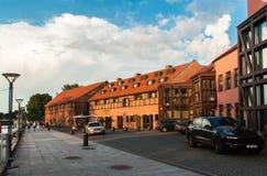 Vecchie costruzioni di porto Klaipeda Fotografia Stock