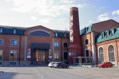 Vecchie costruzioni di precedente fabbrica di cotone-stampa fotografia stock libera da diritti