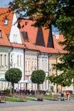 Vecchie costruzioni quadrate principali in Bardejov in Slovacchia Fotografie Stock Libere da Diritti