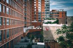 Vecchie costruzioni vedute dall'alta linea, in Manhattan, New York Immagine Stock Libera da Diritti