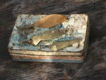 Vecchie cucchiaio-esche per pescare Fotografie Stock