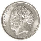 10 vecchie dracme greche di moneta Fotografia Stock