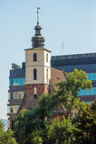 Vecchie e nuove costruzioni in città Fotografia Stock Libera da Diritti