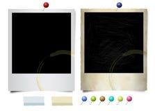 Vecchie e nuove foto del polaroid Fotografia Stock