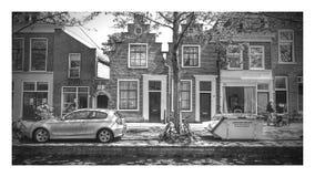 Vecchie facciate in città olandese Immagini Stock