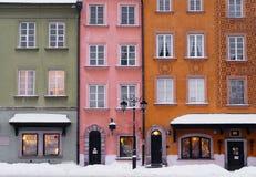 Vecchie facciate della costruzione della città di Varsavia, Polonia. Fotografia Stock Libera da Diritti