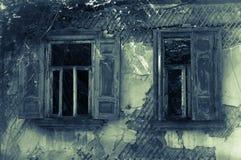 Vecchie finestre abbandonate della casa Immagini Stock