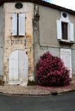 Vecchie finestre con le imposte e vecchio lavoro in pietra, Francia Immagine Stock
