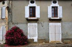 Vecchie finestre con le imposte e vecchio lavoro in pietra, Francia Fotografia Stock