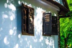 Vecchie finestre della casa Immagini Stock