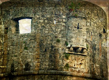 Vecchie foto con la fortezza di vecchia città di Budua, Montenegro 2 Fotografie Stock Libere da Diritti