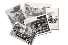 Vecchie foto la gente ed automobili Fotografie Stock Libere da Diritti