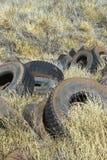 Vecchie gomme abbandonate nel campo. Fotografie Stock