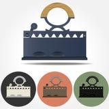 Vecchie icone di vettore del ferro del carbone Fotografia Stock Libera da Diritti