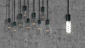 Vecchie lampadine contro Lampadina di Eco Immagine Stock Libera da Diritti