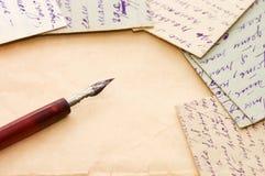 Vecchie lettere come priorità bassa Fotografia Stock