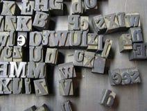 Vecchie lettere del compositore Immagine Stock