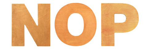 Vecchie lettere di legno NOP Fotografie Stock