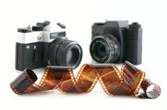 Vecchie macchina fotografica e pellicola Fotografia Stock Libera da Diritti