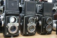 Vecchie macchine fotografiche Fotografia Stock