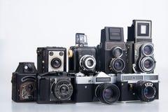 Vecchie macchine fotografiche del gruppo. Fotografia Stock Libera da Diritti