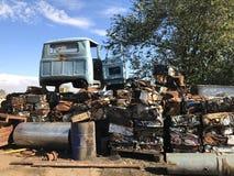 Vecchie macchine & parti di metallo sovietiche Fotografie Stock