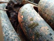 Vecchie mattonelle di tetto del fango /tiles fotografia stock libera da diritti