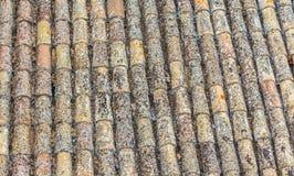 Vecchie mattonelle di tetto spagnole Struttura beige e gialla Immagine Stock