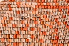 Vecchie mattonelle rosse Fotografie Stock