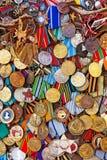 Vecchie medaglie militari Fotografia Stock