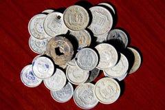Vecchie monete in Cina Fotografia Stock