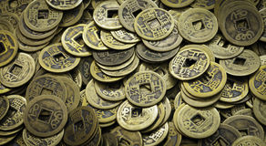 Vecchie monete cinesi Fotografia Stock Libera da Diritti