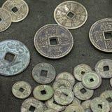 Vecchie monete cinesi Fotografia Stock