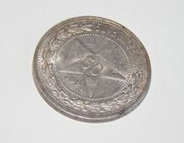 Vecchie monete d'argento dei kopeks 1921 dell'URSS 50 Immagini Stock