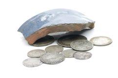 Vecchie monete d'argento inglesi Immagine Stock
