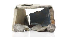 Vecchie monete d'argento inglesi Fotografia Stock
