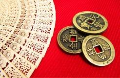 Vecchie monete della Cina Fotografia Stock