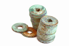Vecchie monete della porcellana Fotografia Stock