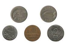 Vecchie monete francesi ed irlandesi Fotografie Stock Libere da Diritti