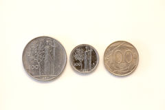 Vecchie monete italiane fotografie stock