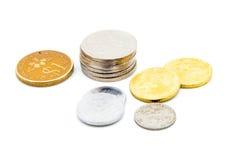 Vecchie monete malesi del Sen Immagine Stock