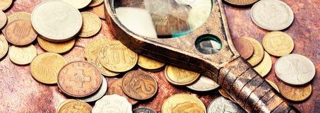 Vecchie monete, numismatica immagini stock