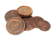 Vecchie monete russe Immagine Stock