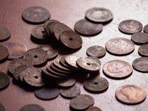 Vecchie monete spagnole Fotografia Stock